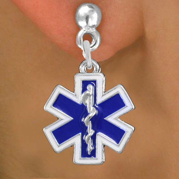 Lead, Cadmium, & Nickle Free Blue And White Color Fill, EMT Cross With Caduceus Charm Earring