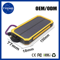 10000mAh Smartphone Solar Charger Case LED Flashlight External Storage Battery Rectangle Solar Power Bank