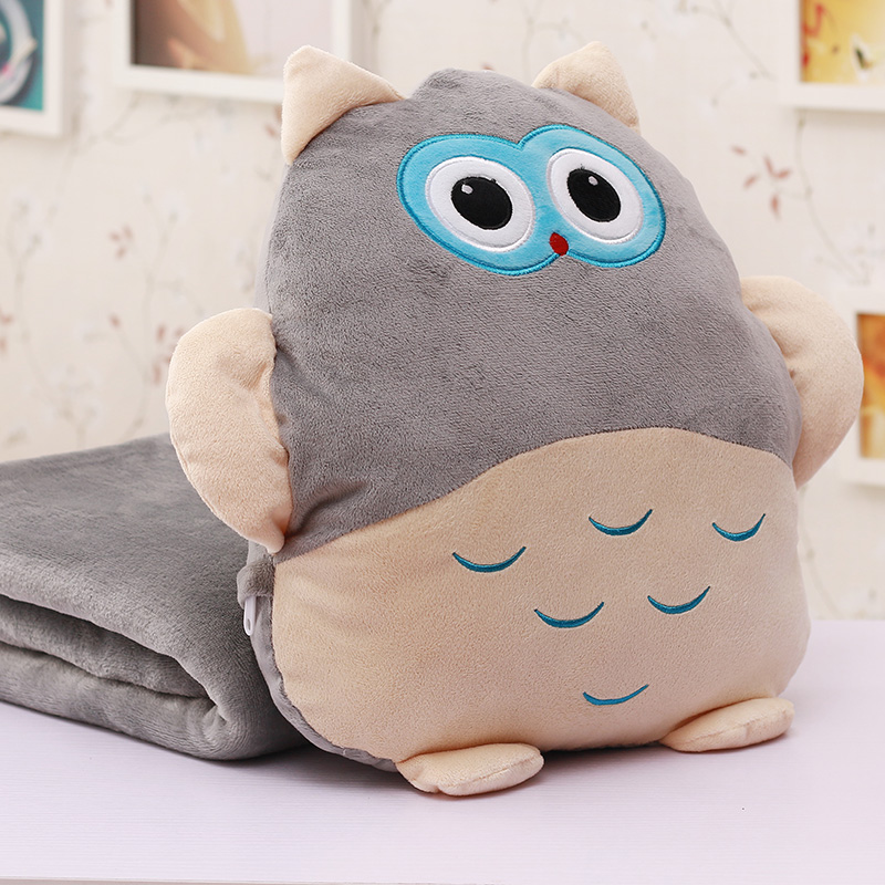 Embroidery owl shaped plush toy small size children blanket
