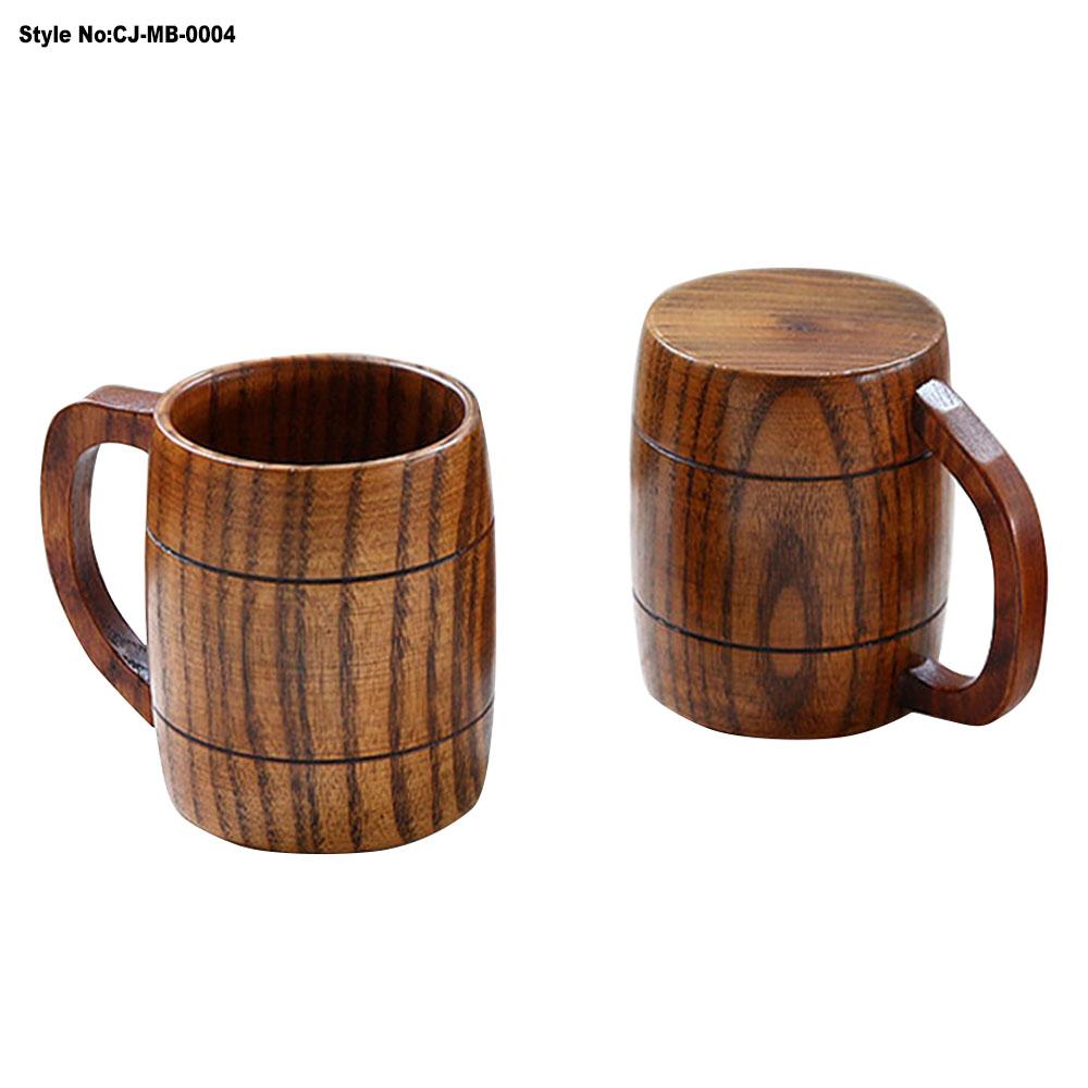 Custom natural novelty wooden beer/coffee/tea/milk mug with handle, All color is ok