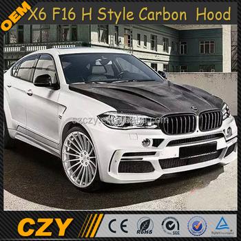 H Style Car Carbon Fiber Engine Bonnet With Vents Hoods For Bmw X6