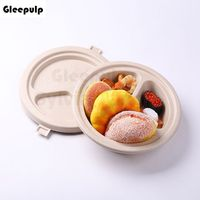 Three Compartment Bamboo Pulp Molded Food Container, Biodegradable Food Bowl With Lid