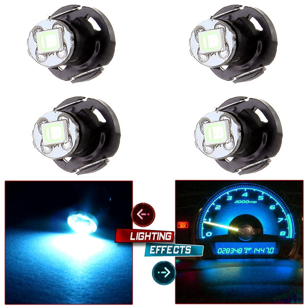 CCIYU 4 Pack Ice Blue T4/T4.2 Neo Wedge 2835SMD LED Dash Climate Bulbs For 1997-2007 Jeep TJ Cherokee Wrangler Liberty