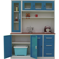 Home elegant Living Room Furniture Blue door Cabinets storage space grey steel kitchen pantry cupboards
