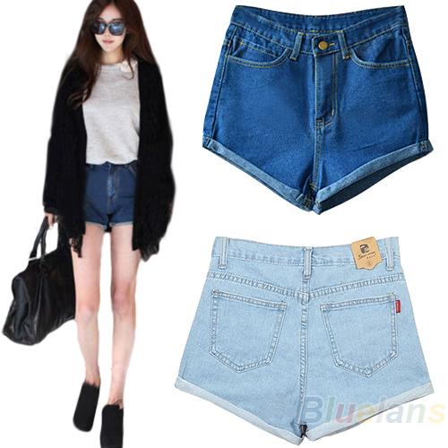 2015 мода женщины леди ретро джинсовой высокая талия фланец синий джинсовые шорты короткие брюки S-XL 00W1