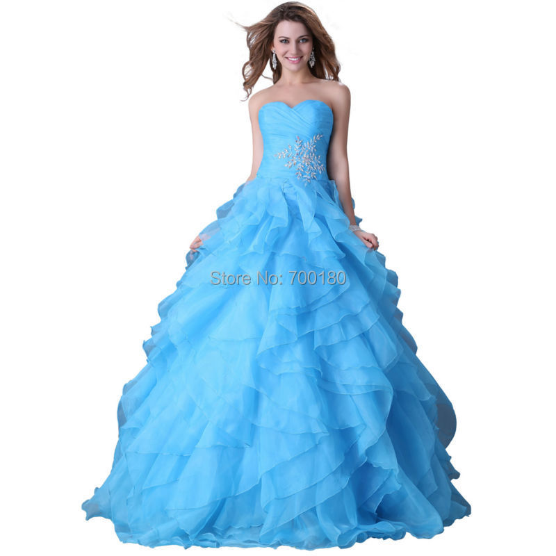 Buy Most Beautiful Ball Gown Party Dress Strapless Beadings Blue ...