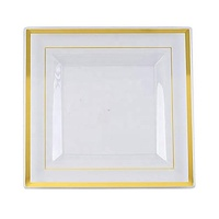 "7"" Plastic Disposable Square Dinner Plate with Gold Rim"