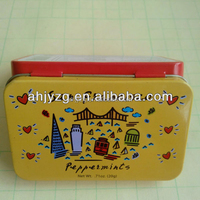 cartoon mint candy packing rectangle small metal tin with hinge
