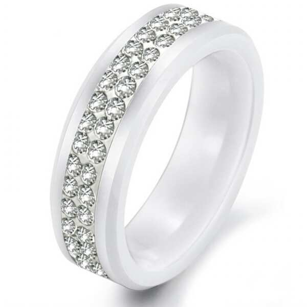 white ceramic cnc diamond butterfly wedding bands rings - Butterfly Wedding Rings