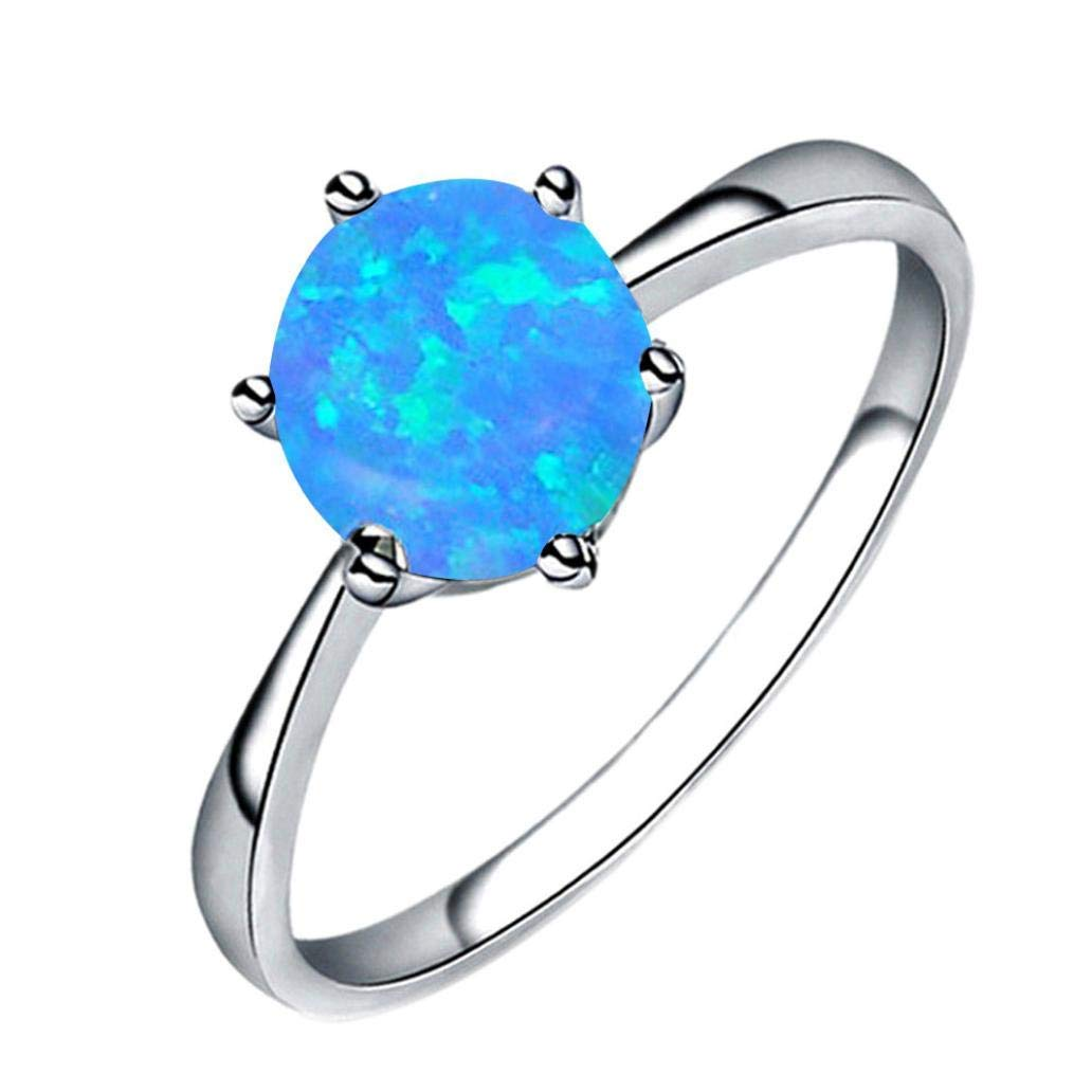 AutumnFall Women Gift,Fashion Opal Ring Jewelry Wedding Engagement Six Claw Rings for Women Girls (Blue, US Size 7)