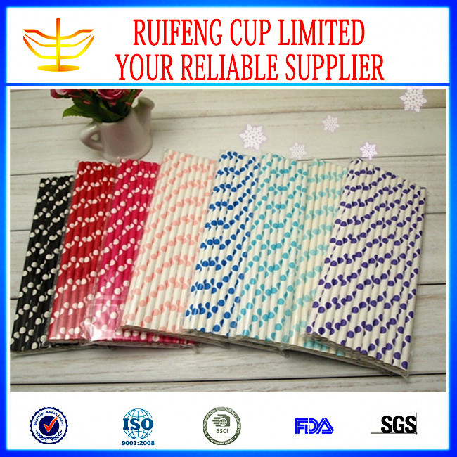 Paper Straw in Different Color ,Stripe, Chevron, Polka Dot, Star,Heart Paper Decorate Straw