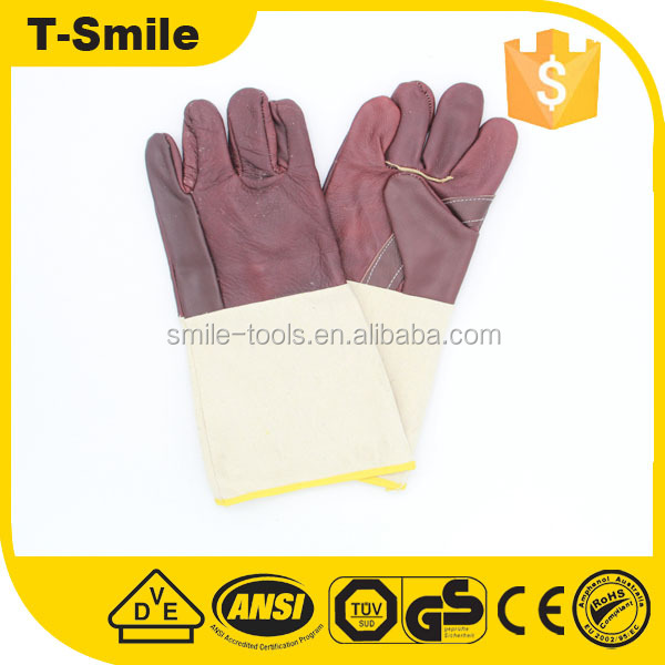 grade AB interlock light duty pigskin surface leather labor work gloves with cut resistant