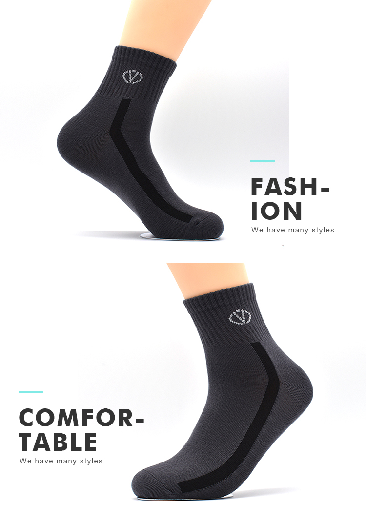 OEM Daily Life Casual Soccer Cycling Non Skid Custom Logo Pattern Business Men Cotton Sport Socks