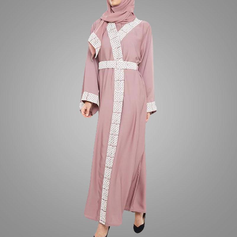cba0addd0e4c8 تصميم الأزياء الرباط عباية البنفسجي مطرزة العباءة النساء كيمونو سترة مفتوحة