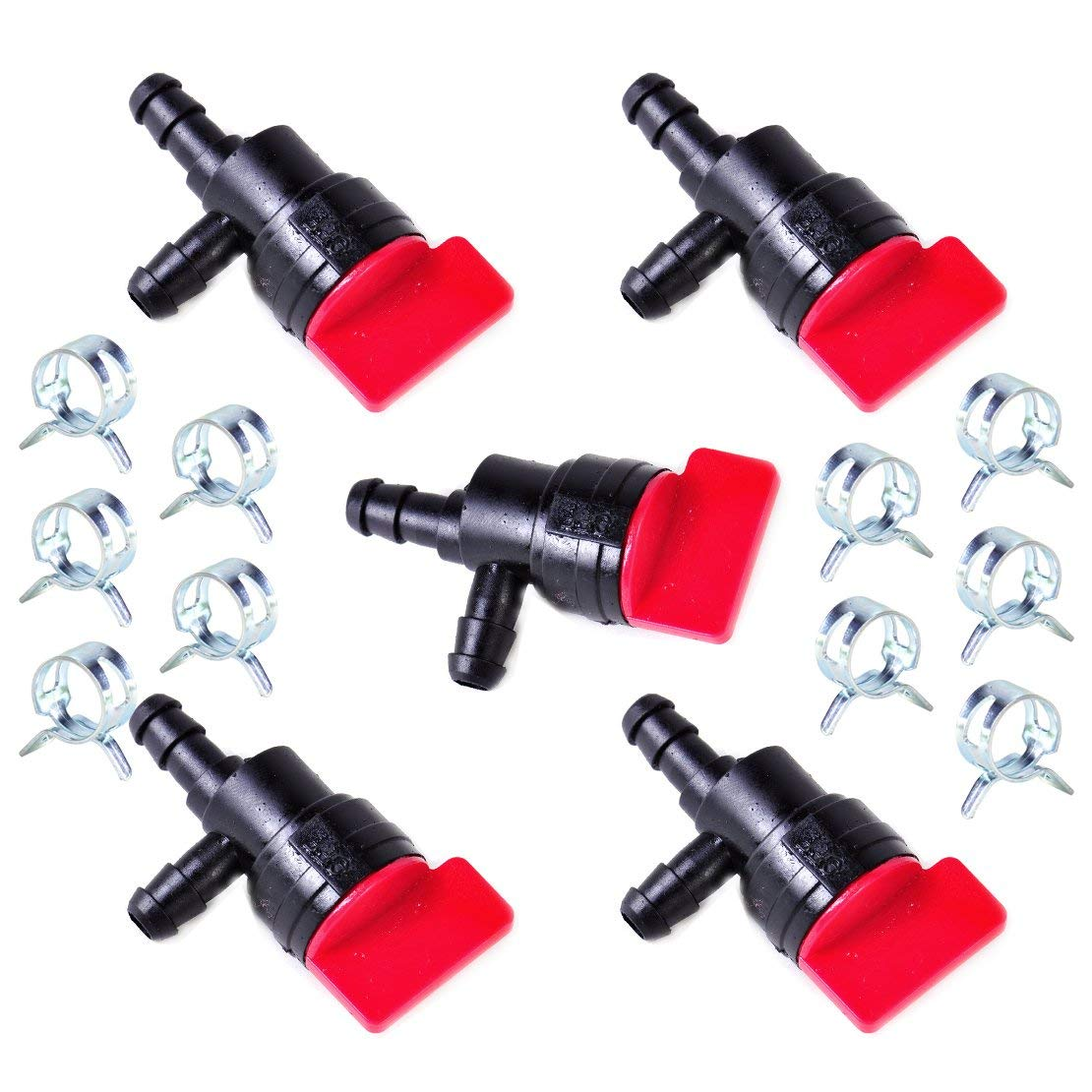 """Daphot-Store - 5pcs 1/4"""" InLine 90 Degree Gas Fuel Cut/Shut Off Valve Petcock + 10pcs 1/2"""" Clamps for Briggs Stratton Mowers Motorcycles"""