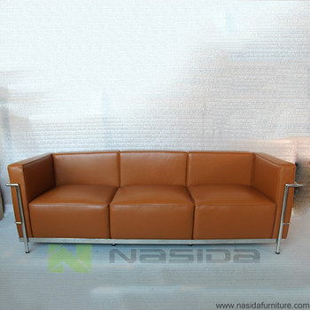 SF203 Brown Aniline Leather Le Corbusier LC3 Three Seat Sofa In Office