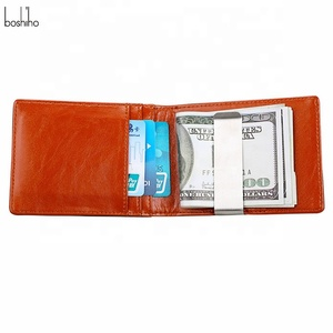 Boshiho RFID Blocking Genuine Leather Men's Wallet Mini Money Clip for Men with Stainless Steel