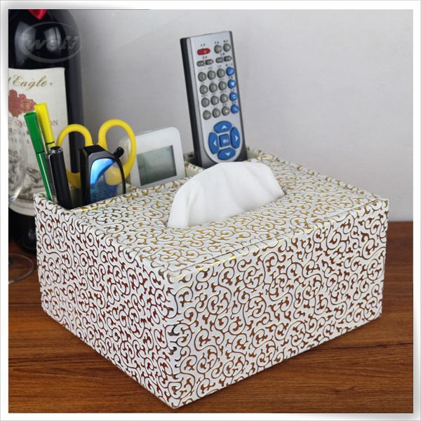 Functional real leather tissue holder for hotel