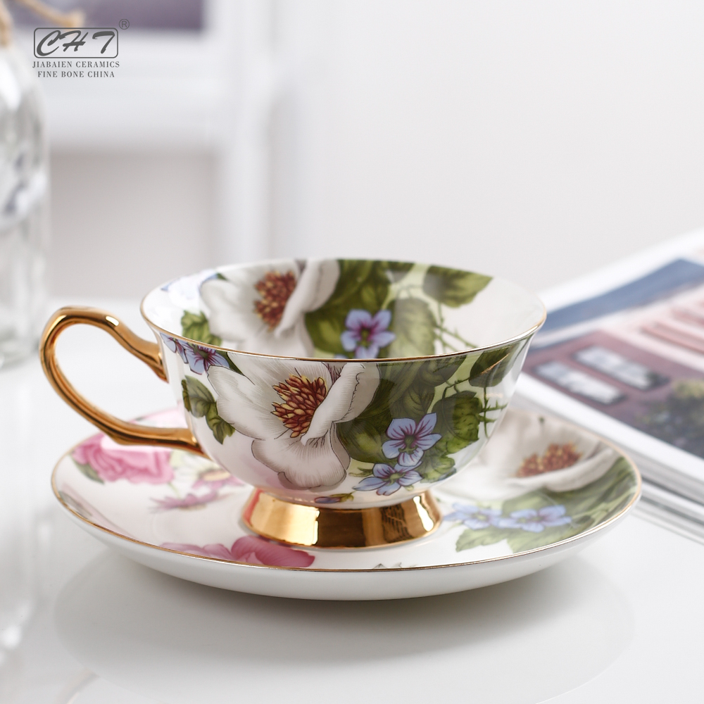 200 ML אישית בסדר עצם סין כוסות סט תה קפה פורצלן קפוצ 'ינו עם צלחת
