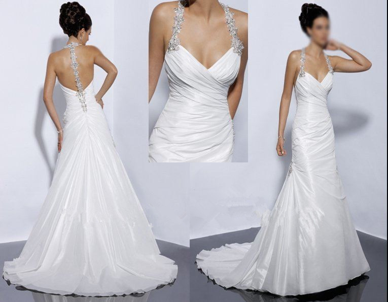 Backless Wedding Gowns: Sexy Halter Backless Bridal Dresses 2015 White Islamic