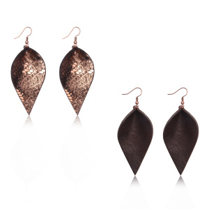Fashion Jewelry Unique Style Teardrop Earring Factory China Handcrafted Wholesale Genuine Leather Leaf Earrings