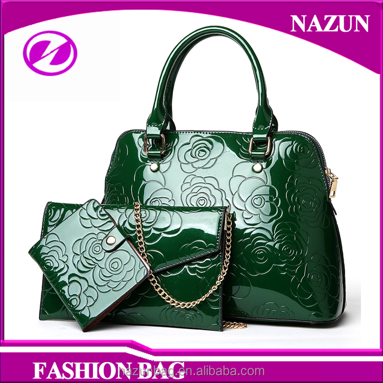 wholesale price embossed flower patent leather purses woman fashion 3 pieces handbags