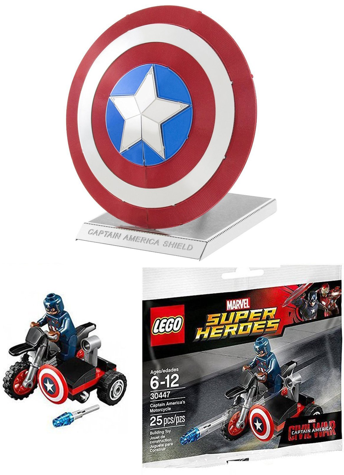 Lego Super Heroes: Civil War Captain America Motorcycle Mini Figure Marvel 3044 & Fascinations Metal Earth Marvel Captain America's Shield 3D Metal Model Kit