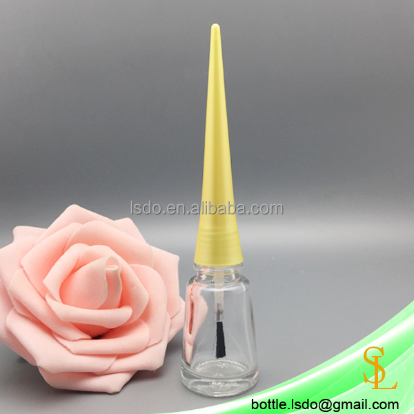 tower shaped cone nail polish bottles clear 10ml empty nail bottle with yellow long caps and brushes
