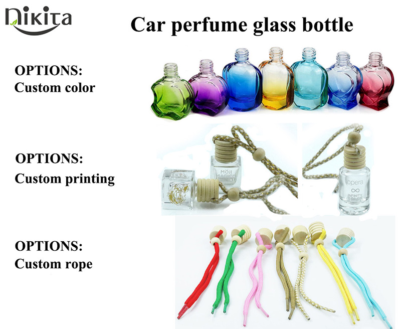 Car Air Freshener Perfume Hanging 5ml Bottles Clear Essential Oil Glass Bottle With UV Gold Lid (CG21)