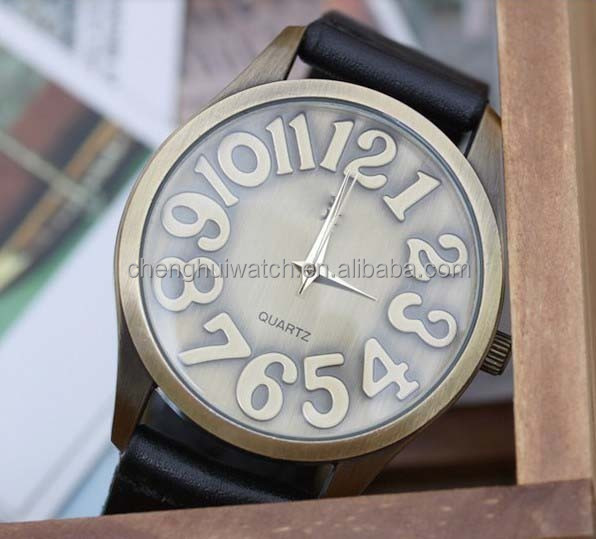 Vintage Creative Design Brown Leather strap Women Girls Watch