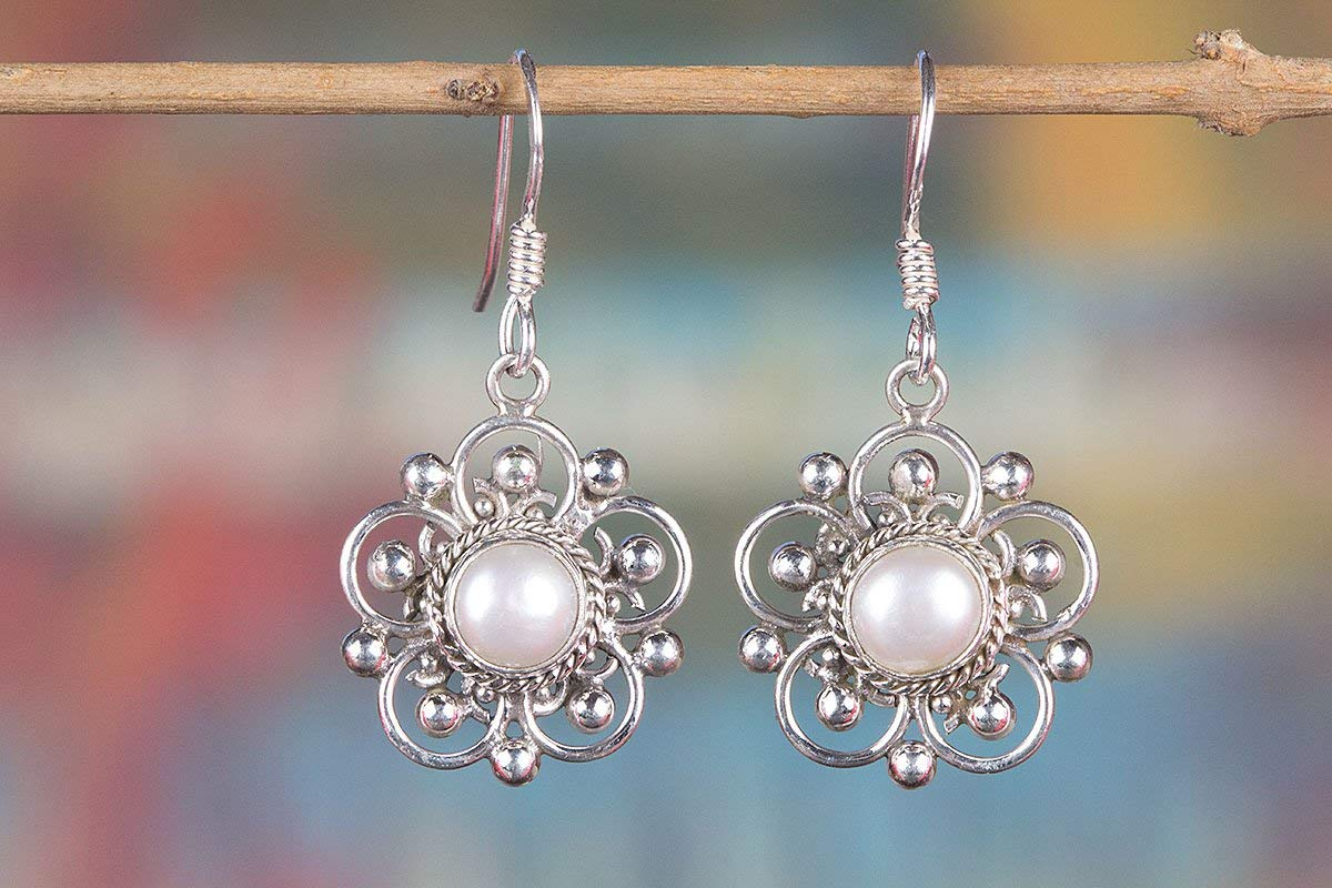 Get Quotations Pearl Earring Gemstone Handmade Handcrafted Sterling Silver