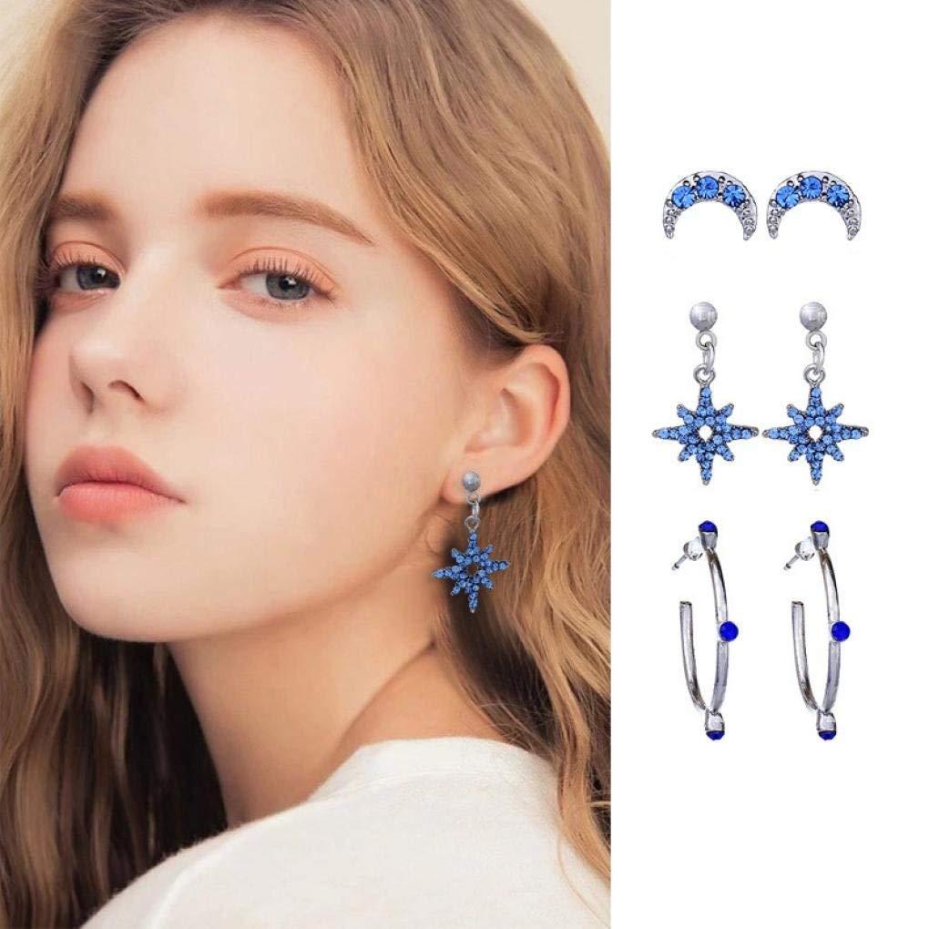 Gyoume Dangle Studs Earrings Girls Women 3 Pair of Star Moon Combination Rhinestone Earrings Set Personality Gift Jewelry