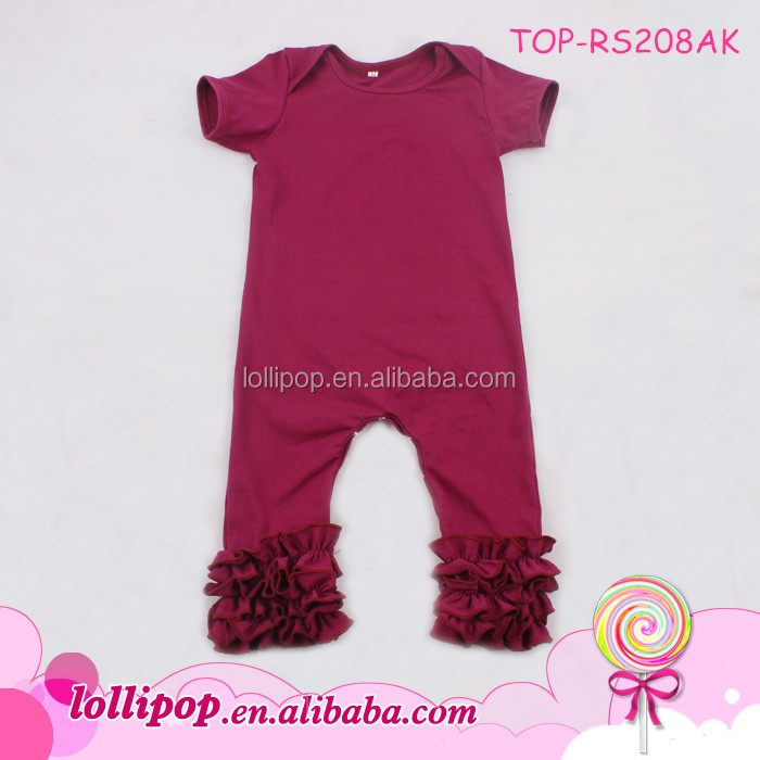 d396fa086581 Girls boutique cotton rompers infant wine onesie full-length crotch snap  baby boy icing ruffle