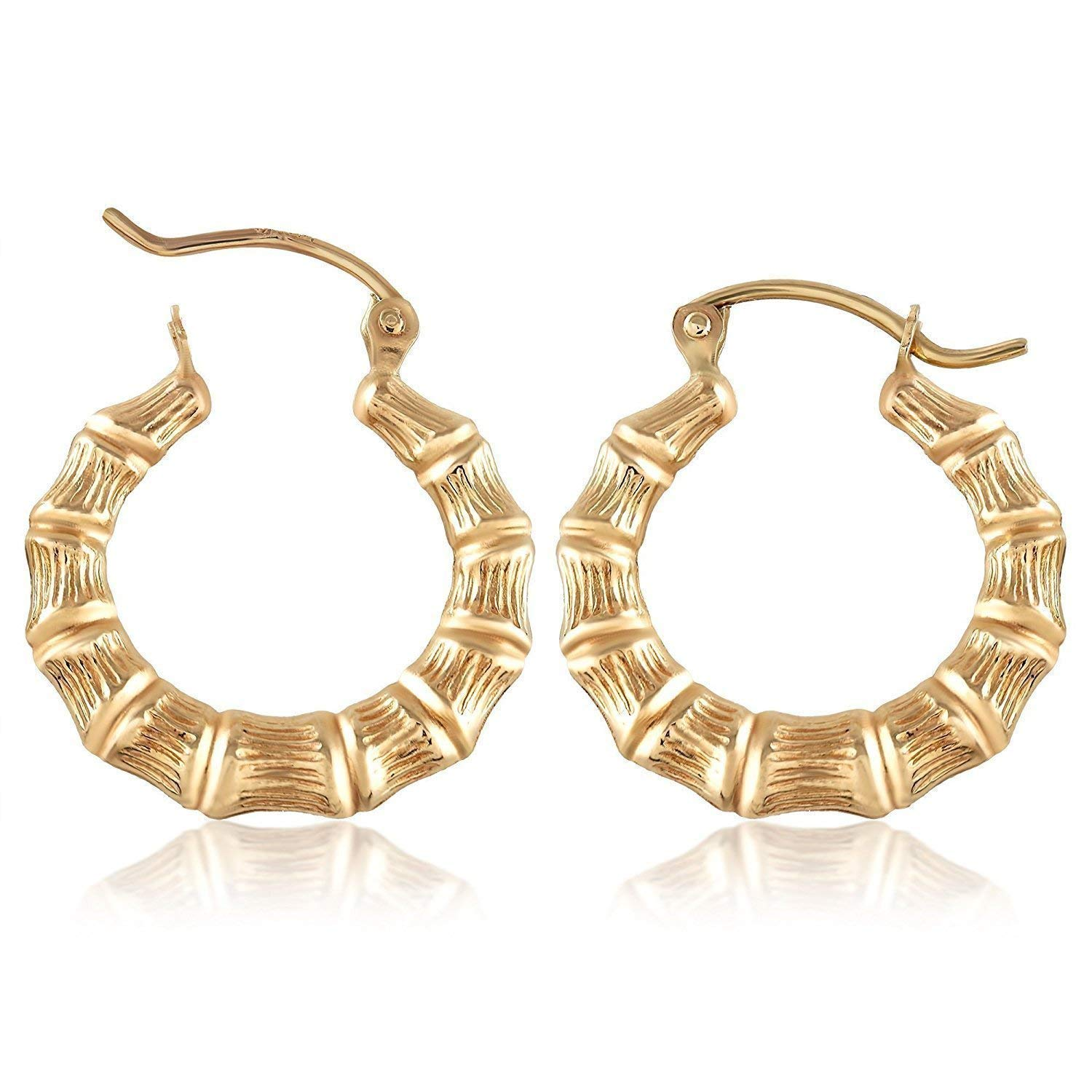 882ac02ac Get Quotations · TousiAttar Bamboo Hoop Earrings - 14k Gold Earring for  Women and Girls - Unique Jewelry for