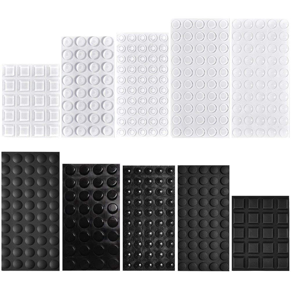 Rubber Feet Bumpers Pads, 404 Pcs QIUYE Self Adhesive Stick Bumper for Glass Table Top, Speakers, Electronics, Furniture, Cabinet, Clear and Black, 7 Different Sizes