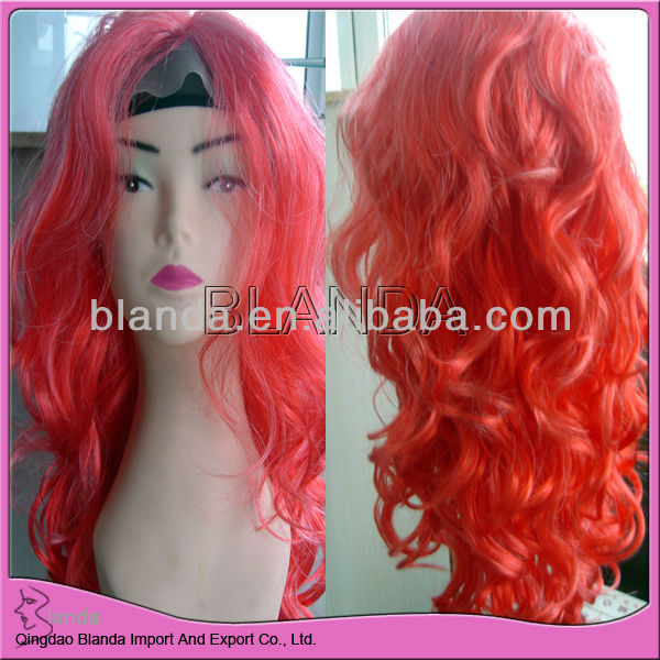pink tua warna renda depan wig sintetis highlight rambut