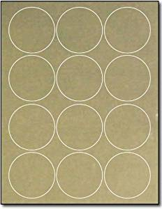 "2 1/2"" Round Gold Foil Labels for Laser Printers - 10 Sheets / 120 Labels"