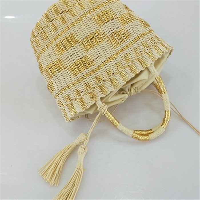 Fashionable Gold And Silver Bucket Woven Straw Shoulder Bag Women Hand-woven Summer Beach Bags
