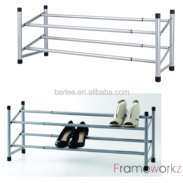 metal tube shoe rack 2 tier expandable