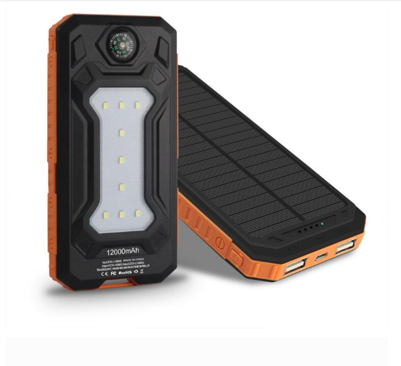 OEM Solar Power bank 10000mAh solar charger Powerbank With 12pcs LED Lam p5V 2.1A