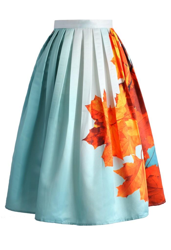 2015 зима осень женщины миди юбки элегантные растения кленовые листья печать женской одежды бахрома юбка высокая талия юбка