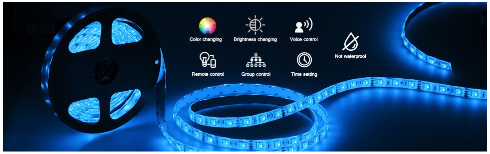 Waterproof Alexa Voice Control 5M RGB Wifi Tuya Smart LED Strip Light