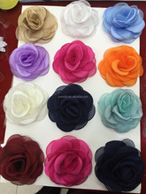 new arrival 12 colors ribbon rose flower for baby headband