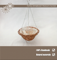 Pretty Chinese rattan round hanging basket wicker baskets with chain