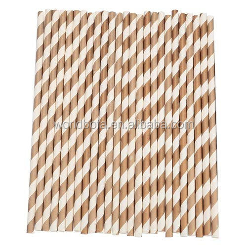 Eco Friendly Disposable Food Grade Striped Cool Drinking Paper Straws