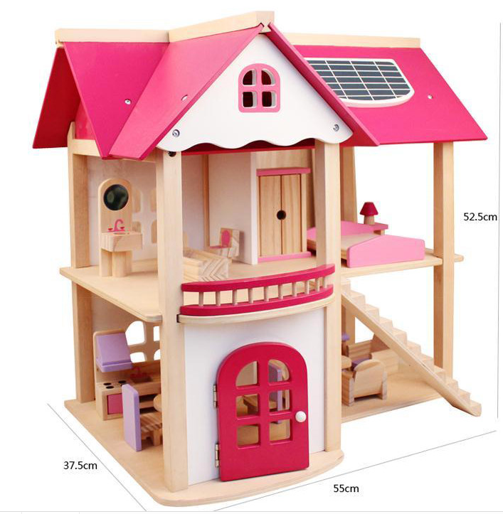Green Toy High Quality Two Floor Pink Wooden Toy Doll House For Girls