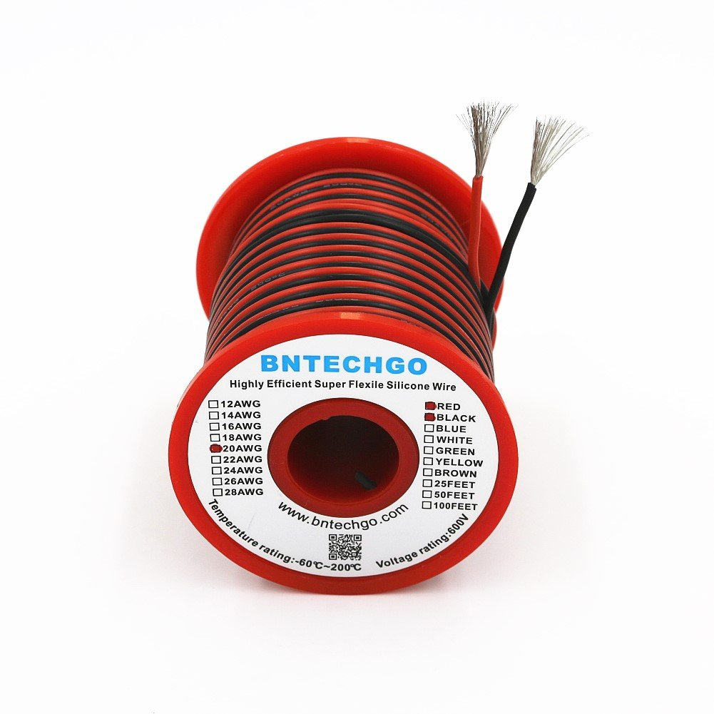Cheap Silicone Wire 24awg Find Deals On Line At High Temperature Wiring Get Quotations Bntechgo 24 Gauge 50 Feet 2 Colors 25 Ft Black And