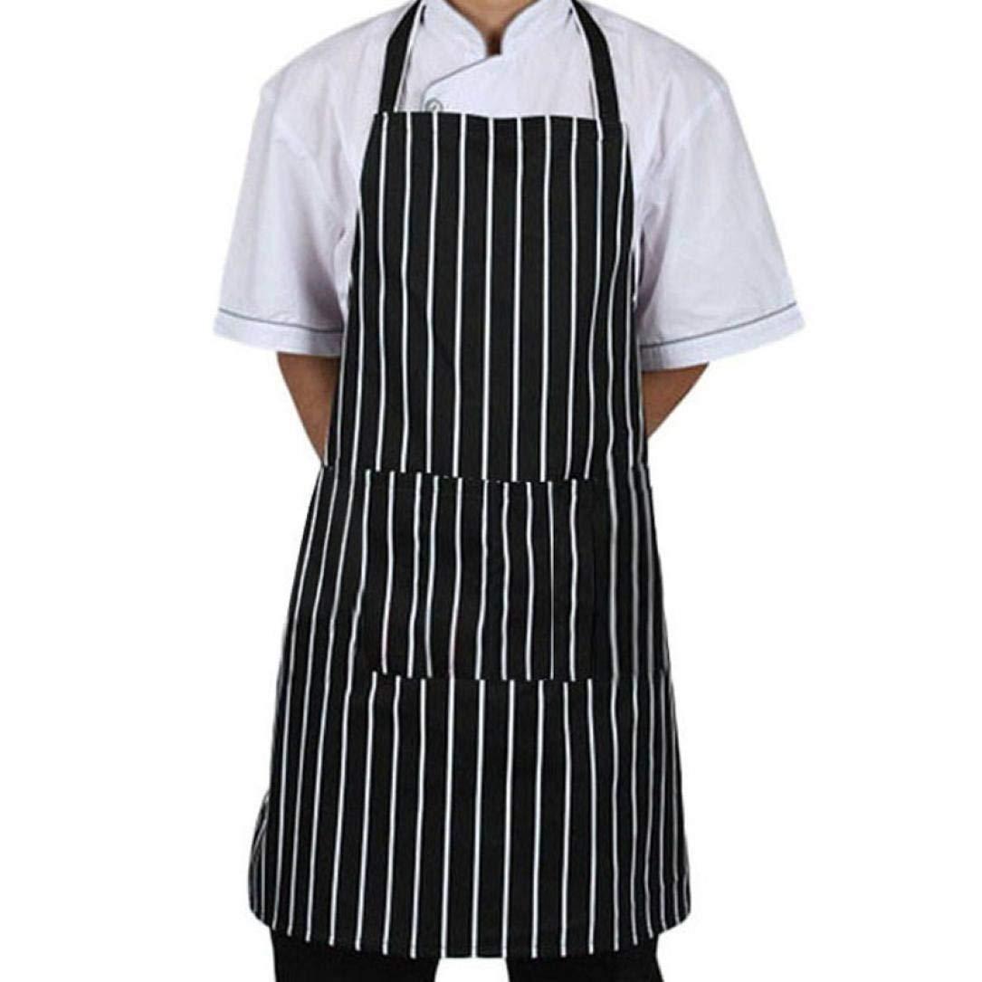 Cooking Apron Bibs, Witspace 1PC Unisex Apron Adjustable Black Stripe Bib Apron With 2 Pockets Chef Kitchen Cook Tool Men Women Chef Apron Bibs (Stripe B)