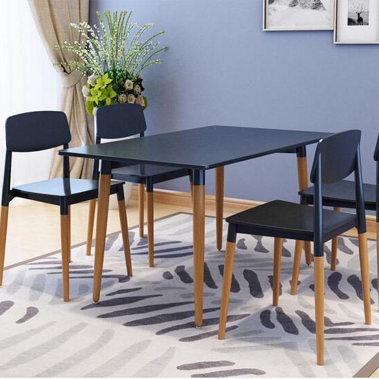 Modern rectangle wooden black white italian dining room set furniture with 4 chair
