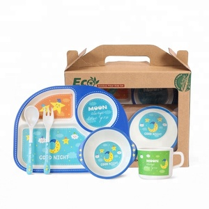 Wholesale Bamboo fiber dinnerware sets baby tableware sets melamine plate set kids tableware